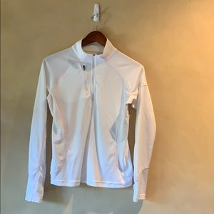 Tops - Collared half zip golf shirt- white  w pink highlt